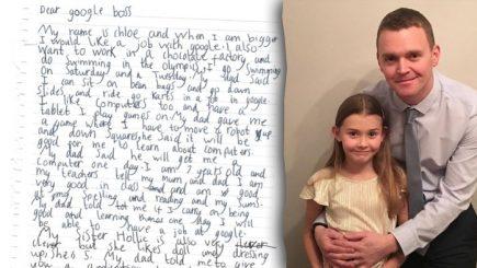 """""""Dear google boss…"""". O fetiță de 7 ani i-a  solicitat șefului de la Google o slujbă în companie. Ce răspuns credeți că a primit?"""