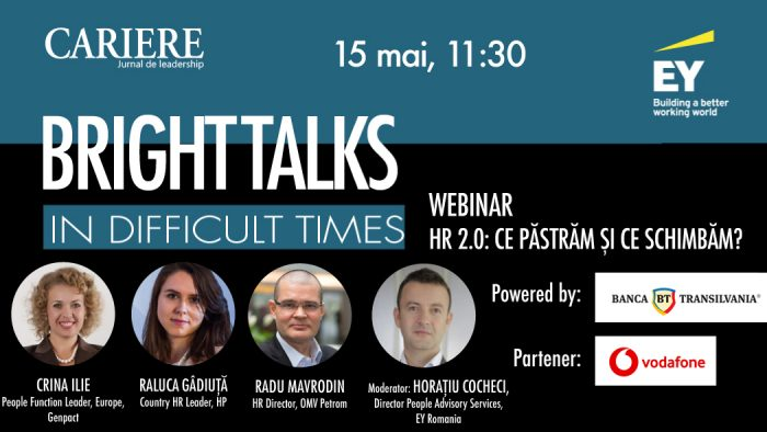 "A cincea ediție ""Bright Talks in Difficult Times"", vineri 15 mai, între 11:30-12:30"